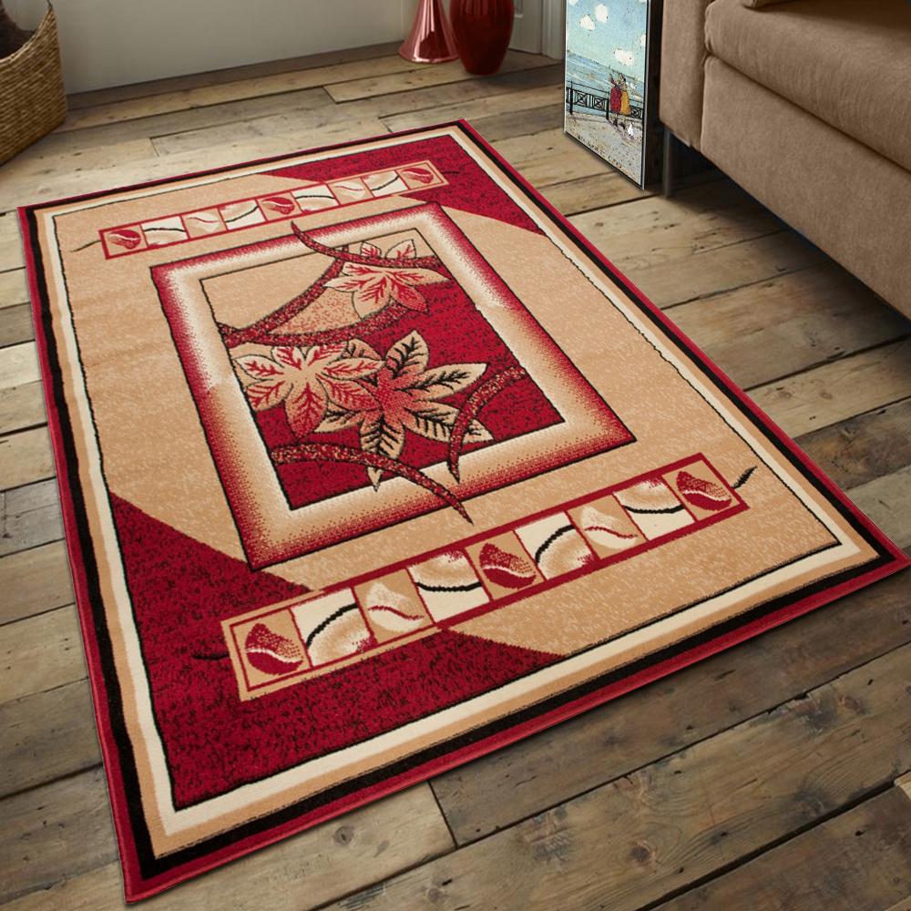 top moderner wohnzimmer teppich teppiche design mit blumenmuster in rot beige ebay. Black Bedroom Furniture Sets. Home Design Ideas