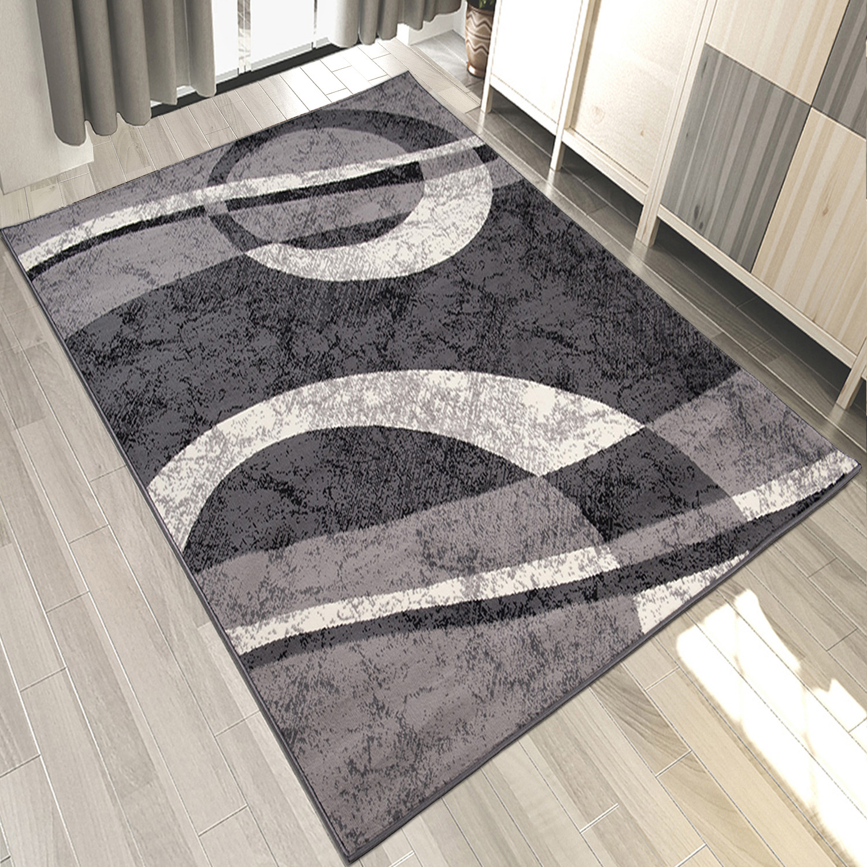 teppich grau wei kurzflor modern wohnzimmer flach teppiche viele gr en ebay. Black Bedroom Furniture Sets. Home Design Ideas