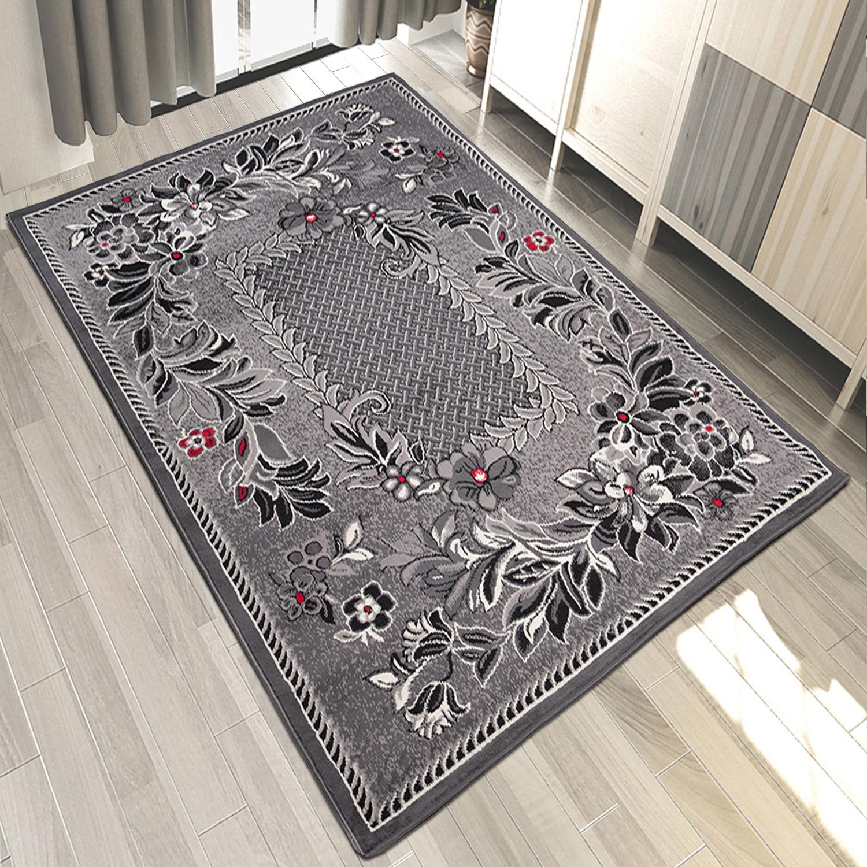Teppich 200x300  Teppich Grau Weiß Rot Kurzflor Modern Wohnzimmer Flach Teppiche ...