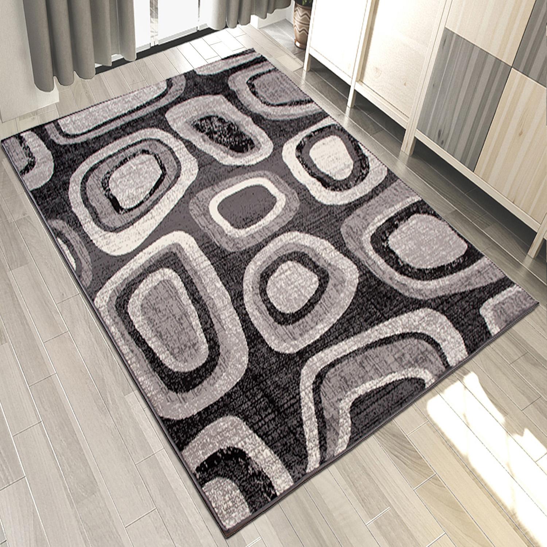 teppich grau wei rot kurzflor modern wohnzimmer flach teppiche viele gr en ebay. Black Bedroom Furniture Sets. Home Design Ideas