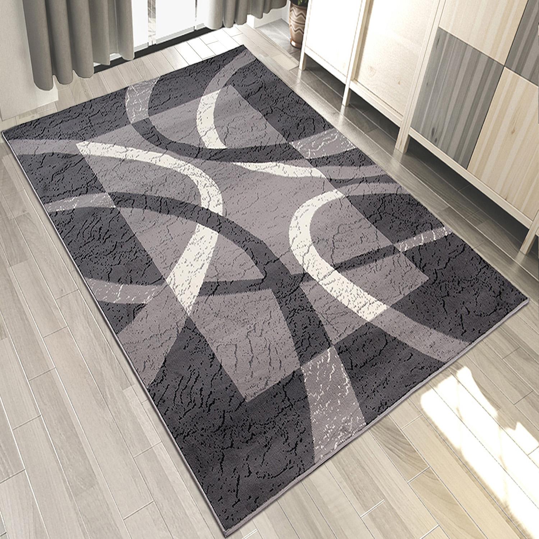 teppich modern klassisch grau kurzflor mit gestreift retro wohnzimmer teppiche. Black Bedroom Furniture Sets. Home Design Ideas
