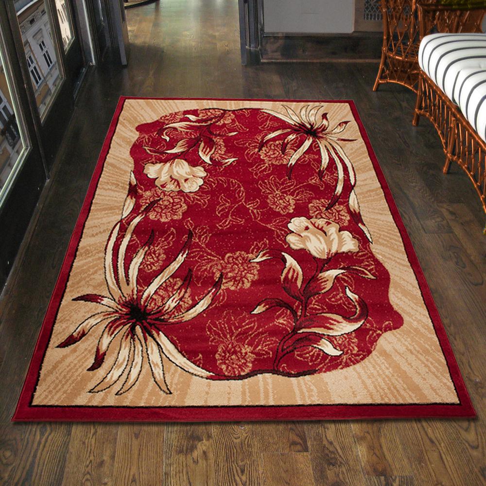 teppich wohnzimmer klassisch blumen rot design l ufer xxl 200x300 300x400 mehr ebay. Black Bedroom Furniture Sets. Home Design Ideas