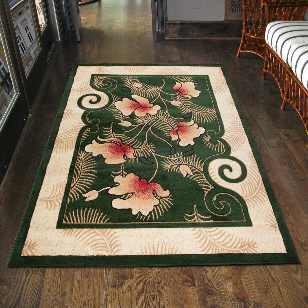 teppich wohnzimmer klassisch blumen gr n design l ufer xxl 200x300 300x400 mehr ebay. Black Bedroom Furniture Sets. Home Design Ideas