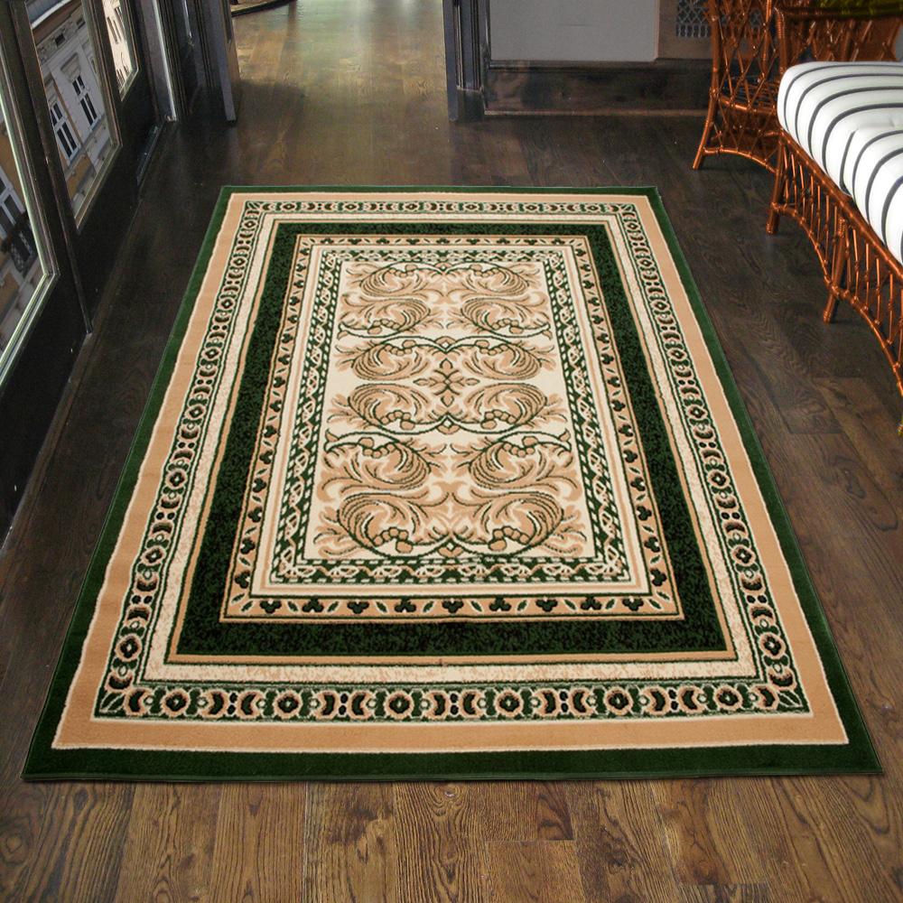 teppich klassisch orientalisch in gr n ornamente l ufer klein 200x300 300x400 ebay. Black Bedroom Furniture Sets. Home Design Ideas