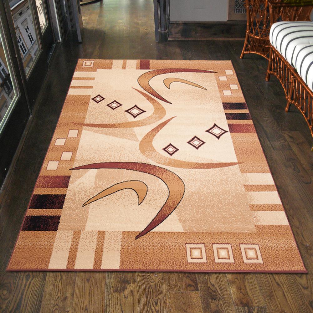 Teppich Modern Designer Wohnzimmer in Braun Läufer S-XXL 200x300 300x400 80x150