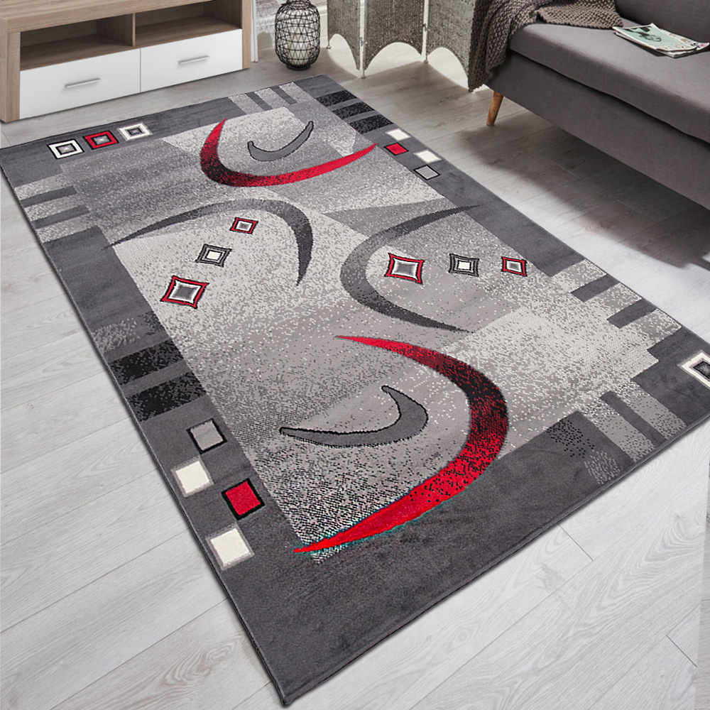 Details zu Teppich Wohnzimmer Modern Muster in Grau Rot  18x18  18x18   TOP